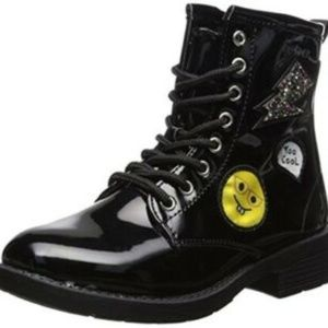 New bebe Girls Patent Combat Boots with Patches si